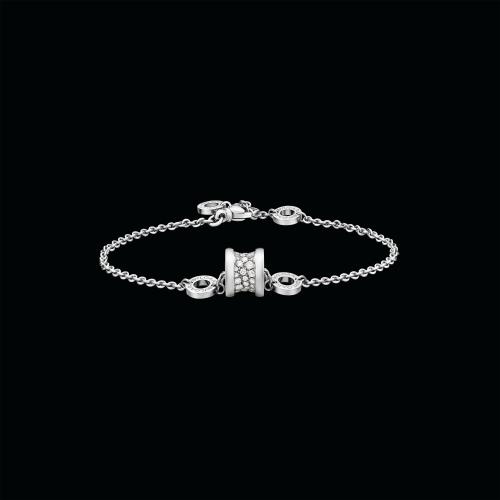 Bracciale morbido B.zero1 in oro bianco 18 carati con pavè di diamanti - BR857359