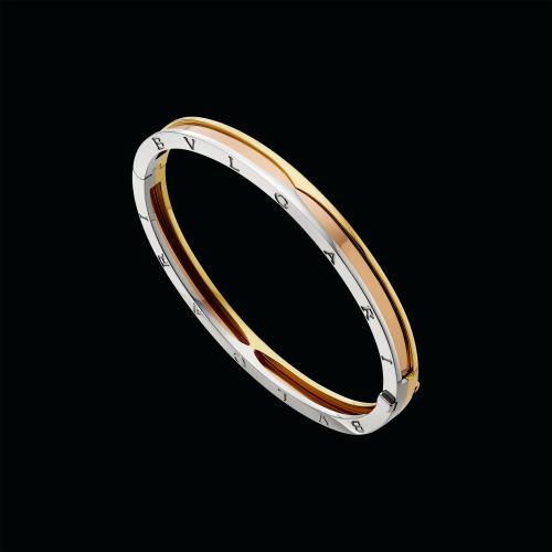 Bracciale rigido B.zero1 in oro rosa, oro giallo e oro bianco - BR857847