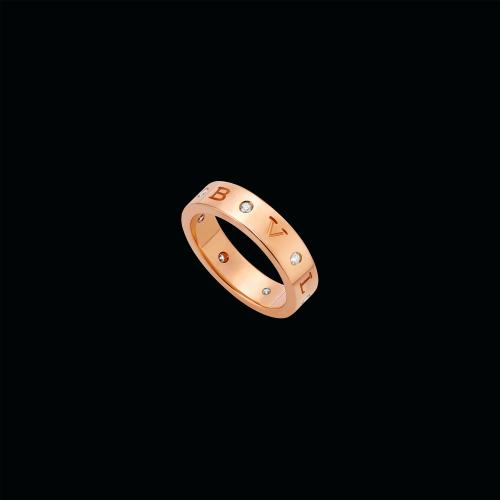 Anello a fascia Bulgari Bulgari in oro rosa 18 carati con sette diamanti - AN858005