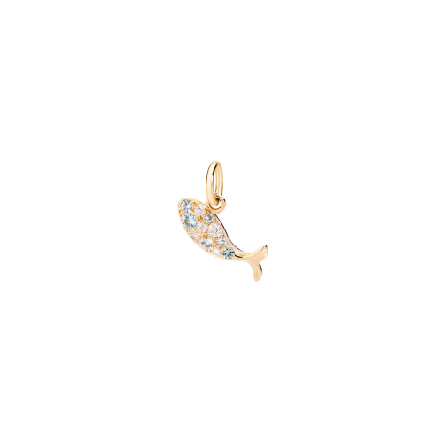 DODO ANIMALI - PESCE - CIONDOLO PESCE IN ORO GIALLO CON DIAMANTI E TOPAZI BLU - DMFISHOG/B-ZF