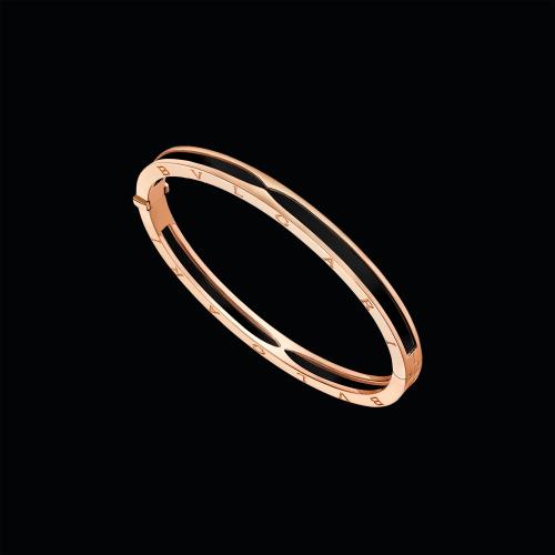 Bracciale rigido B.zero1 in oro rosa e ceramica nera