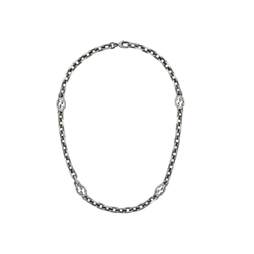 CHOCKER INTERLOCKING CON GG IN ARGENTO - YBB62079600100U