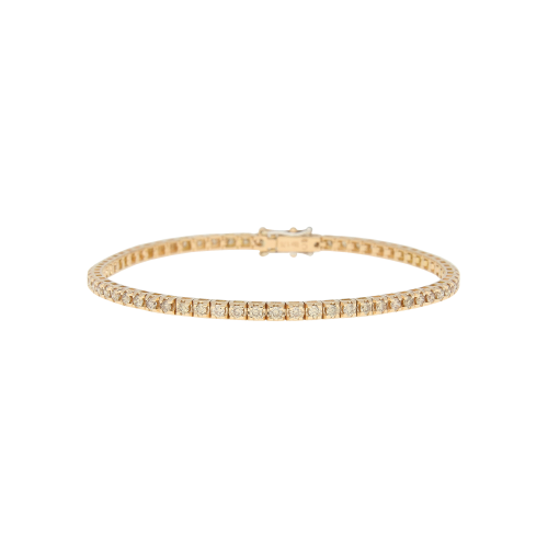 BRACCIALE TENNIS IN ORO ROSA CON DIAMANTI BROWN