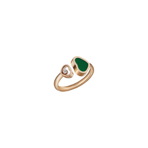 CHOPARD - HAPPY HEARTS - ANELLO IN ORO ROSA, DIAMANTE, AGATA VERDE - 829482-5100