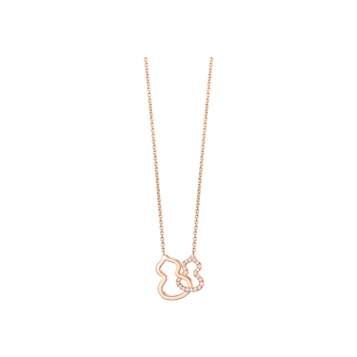 COLLANA PETITE DOUBLE WULU IN ORO ROSA CON DIAMANTI - WU-NL0004A-RGD