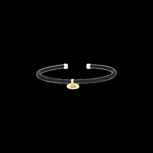 Bracciale rigido in acciaio brunito e piastrina in oro bianco, oro rosa e diamanti bianchi
