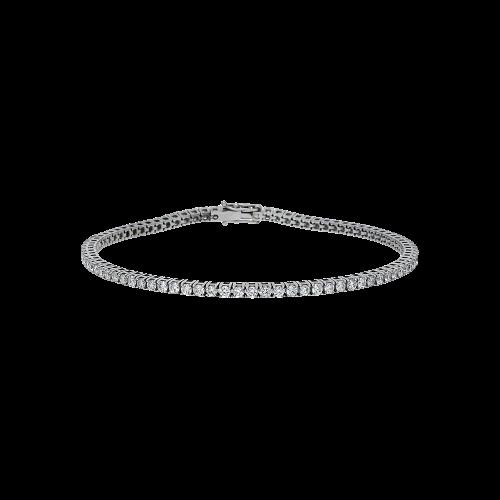 Bracciale tennis in oro bianco 18 carati e diamanti bianchi taglio brillante