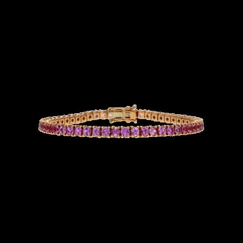 Bracciale tennis in oro rosa 18 carati e zaffiri rosa taglio brillante - Lunghezza 17,5 cm.