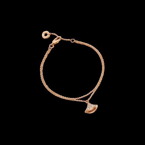 Bracciale DIVAS' DREAM in oro rosa 18 carati con pavÉ di diamanti. Lunghezza 15-19 cm