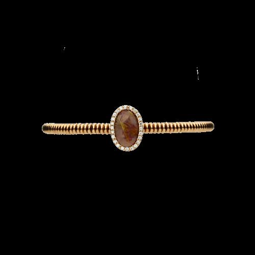 Bracciale in argento placcato rosÈ, zirconi bianchi e rutilio viola