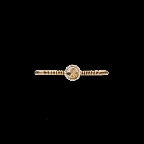 Bracciale elastico in argento placcato rosÈ con zirconi bianchi
