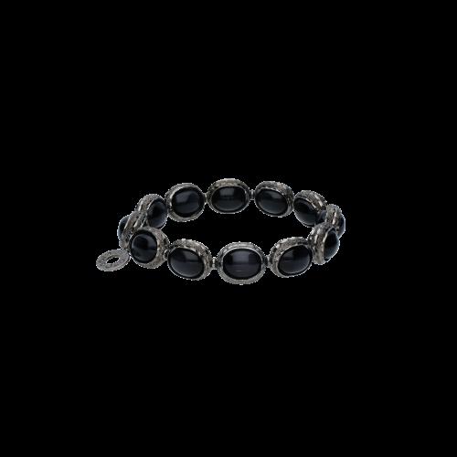 Bracciale elastico in argento e adularia nera