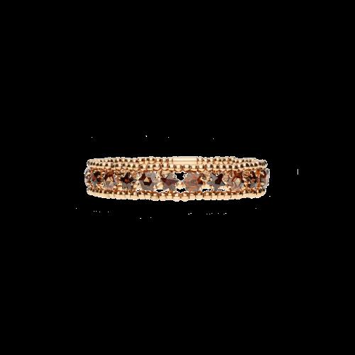 Bracciale elastico in argento placcato rosÈ e tormalina marrone