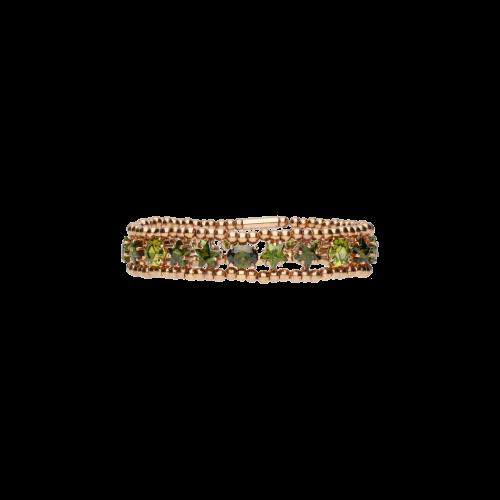 Bracciale elastico in argento rosÈ e tormalina verde