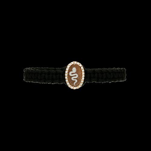 Bracciale in cordura nera con cammro lavorato e zirconi bianchi