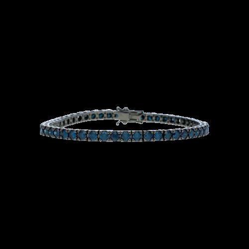 Bracciale tennis in oro brunito 18 carati e diamanti colorati taglio brillante - Lunghezza 21 cm