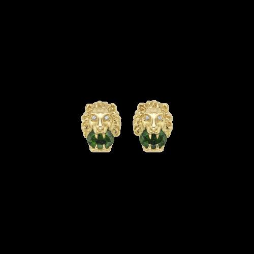 ORECCHINI GUCCI LION HEAD IN ORO GIALLO CON CROMO DIOPSIDE E DIAMANTI - YBD609866001
