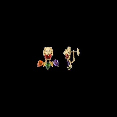 ORECCHIO SINGOLO GUCCI LION HEAD IN ORO GIALLO CON DIAMANTI E PIETRE COLORE - YBD628570001