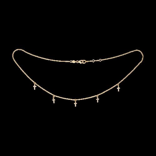 Croci - Collana in oro rosa 18 carati e diamanti bianchi taglio brillante