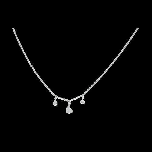 Collana in oro bianco e charms con diamanti bianchi