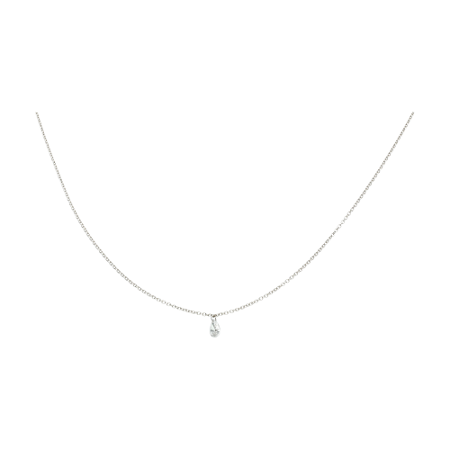 Collana Solitario diamante taglio goccia e catena in oro bianco