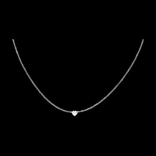 Collana Solitario diamante cuore in oro bianco brunito