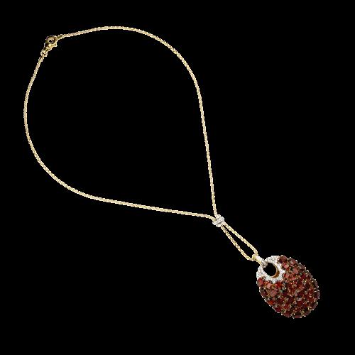 Collana in oro rosa 18 carati con granato e diamanti bianchi taglio brillante