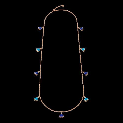 Collana DIVAS' DREAM in oro rosa 18 carati con turchese, lapislazzuli e pavÉ di diamanti - CL857287