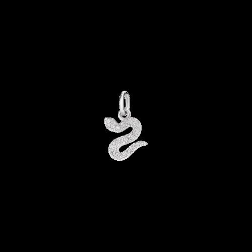 Ciondolo Serpente in oro bianco 18 kt. con diamanti