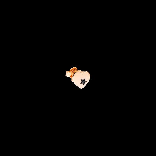 DODO MORE LOVE - ORECCHINO CUORE - Orecchino singolo in oro rosa 9 kt e un diamante black - DOHCUORP1/9/BB
