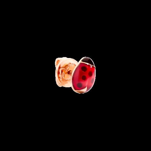DODO GOOD LUCK -  ORECCHINO SINGOLO COCCINELLA IN ORO ROSA E SMALTI - DOHCOC/9/K