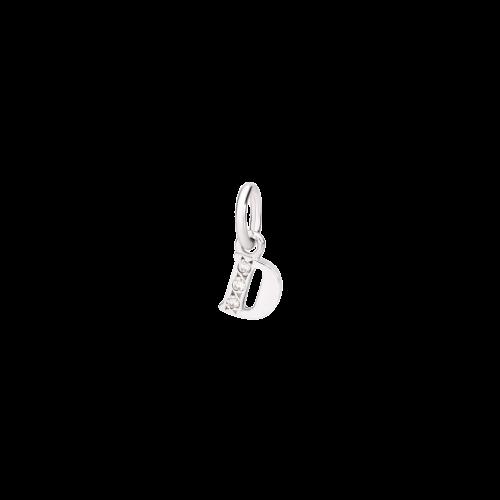 DODO ALFABETO - CIONDOLO LETTERA D PREZIOSO IN ORO BIANCO E DIAMANTI - DLETPOB/B/D