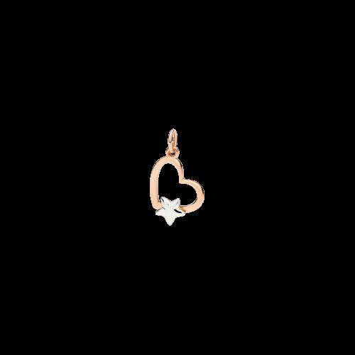 DODO VALENTINE'S - CUORE SILHOUETTE - ciondolo in oro rosa 9 kt e stellina in oro bianco 9 kt - DMCUT/9/ST9B/K