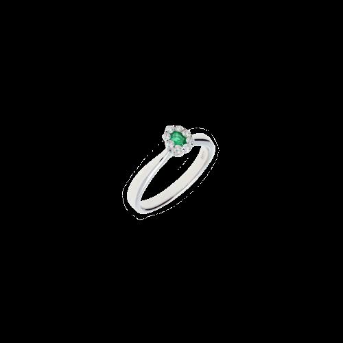 Anello solitario in oro bianco, diamanti bianchi e smeraldo naturale