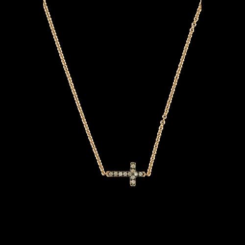 Collana Croce in oro rosa e diamanti brown