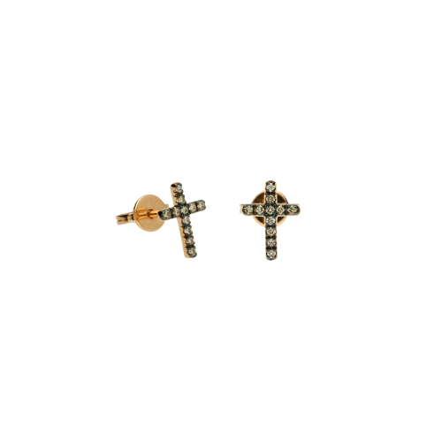 Orecchini Croce in oro rosa e diamanti brown