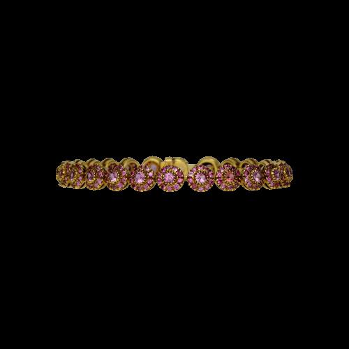 Bracciale in oro giallo 18 carati e zaffiri rosa taglio brillante