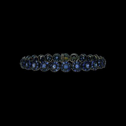 Bracciale in oro nero e zaffiri blu taglio brillante