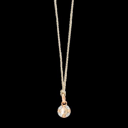 PENDENTE SENZA CATENA M'AMA NON M'AMA - Pendente in oro rosa 18K, 1 adularia 0.42 ct, 8 diamanti 0.05 ct - M.B807/B9O7/AD