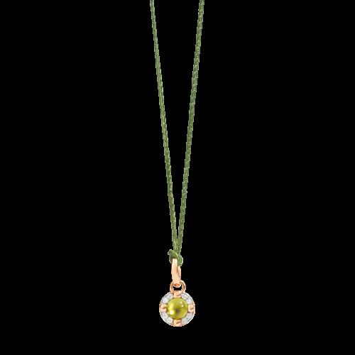 POMELLATO - PENDENTE SENZA CATENA M'AMA NON M'AMA - Pendente in oro rosa 18K, 1 peridoto 0.53 ct, 8 diamanti 0.05 ct - M.B807/B9O7/OE