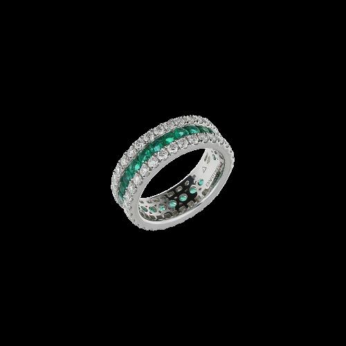 Anello in oro bianco 18 carati , smeraldi naturali e diamanti bianchi taglio brillante