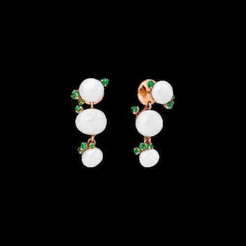 ORECCHINI CAPRI - ORECCHINI IN ORO ROSA, CERAMICA BIANCA E TSAVORITI - O.B610/O7/CBTZ