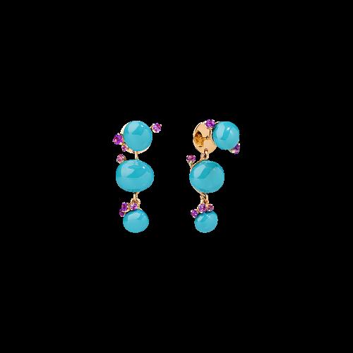 ORECCHINI CAPRI - ORECCHINI IN ORO ROSA, CERAMICA TURCHESE E AMETISTA CT 0.75 - O.B610/O7/CTOI
