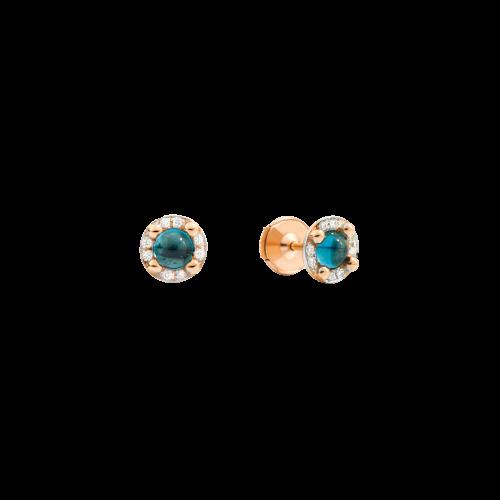 ORECCHINI M'AMA NON M'AMA - Orecchini in oro rosa 18K, 2 topazi blu London 1.16 ct, 16 diamanti 0.09 ct - O.B807/B9O7/OY