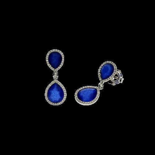 Orecchini in oro bianco 18 carati,zaffiri blu,cristallo di rocca e diamanti bianchi taglio brillante