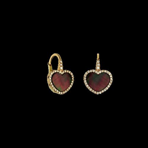 Orecchini in oro rosa 18 carati con cuore in madreperla nera e diamanti bianchi taglio brillante
