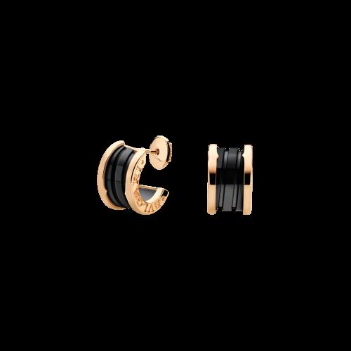 Orecchini B.zero1 in oro rosa 18 carati e ceramica nera - OR856091