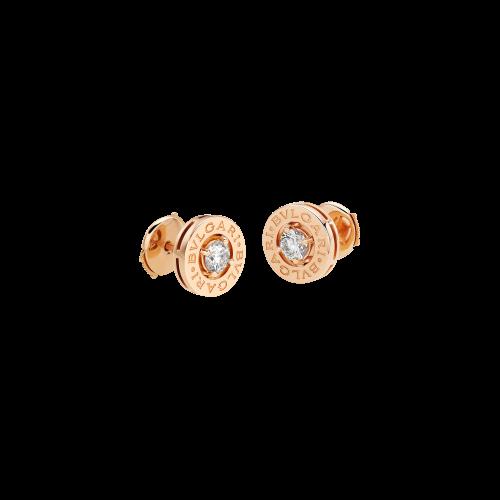 Orecchini a clip BVLGARI BVLGARI in oro rosa 18 carati con due diamanti da 0,20 carati - OR856309