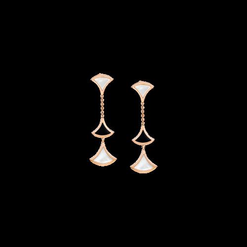 Orecchini DIVAS' DREAM in oro rosa 18 carati con onice e madreperla - OR857051