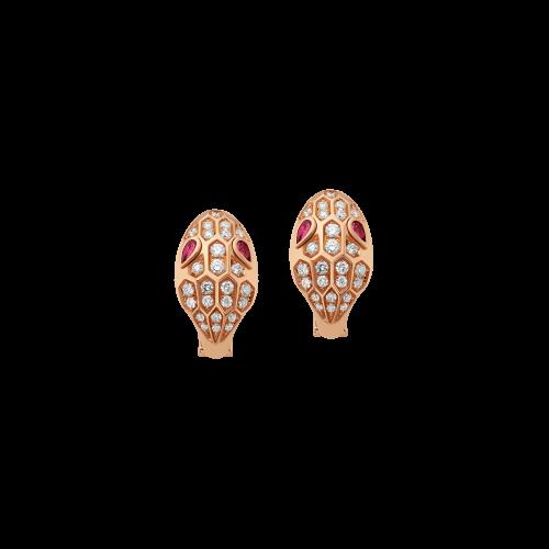Orecchini Serpenti in oro rosa, rubellite e pavÉ di diamanti